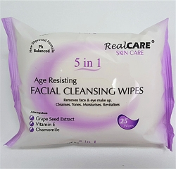 FACIAL CLEANSING WIPES 5 IN 1 25PK