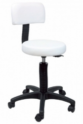 STOOL G/LIFT WITH BACK WHITE
