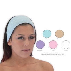 TOWELLING HEAD BAND D/S (2) WHITE